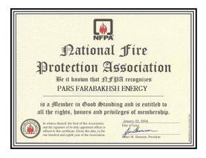 عضویت انجمن حفاظت در برابر آتش سازمان NFPA